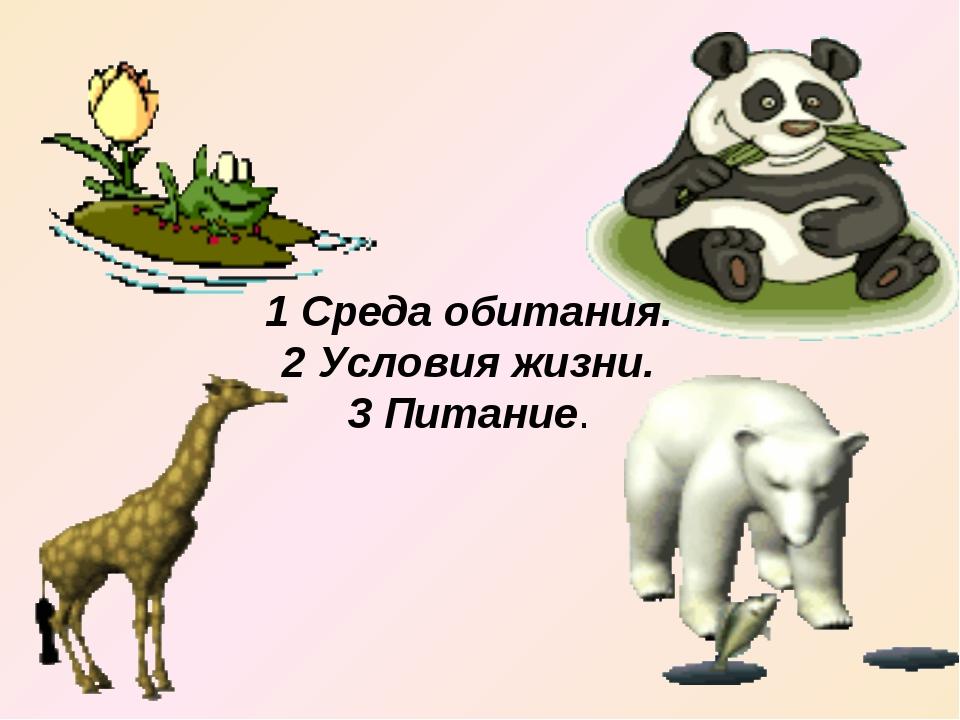 1 Среда обитания. 2 Условия жизни. 3 Питание.