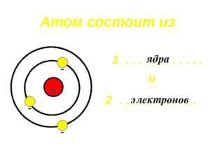 Атом состоит из . . . . . . . . . . . . . . . . . . . . . . . . 1 2 ядра элек