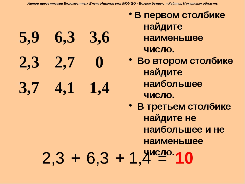 В первом столбике найдите наименьшее число. Во втором столбике найдите наибо...