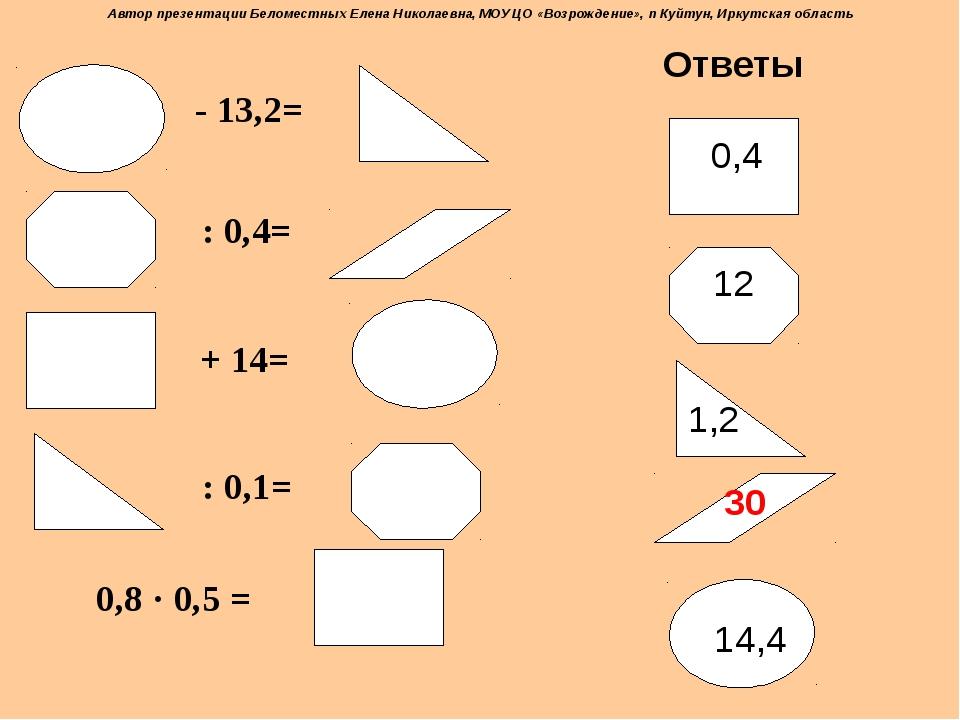 - 13,2= : 0,4= + 14= : 0,1= 0,8 · 0,5 = Ответы 0,4 14,4 1,2 12 30 Автор през...