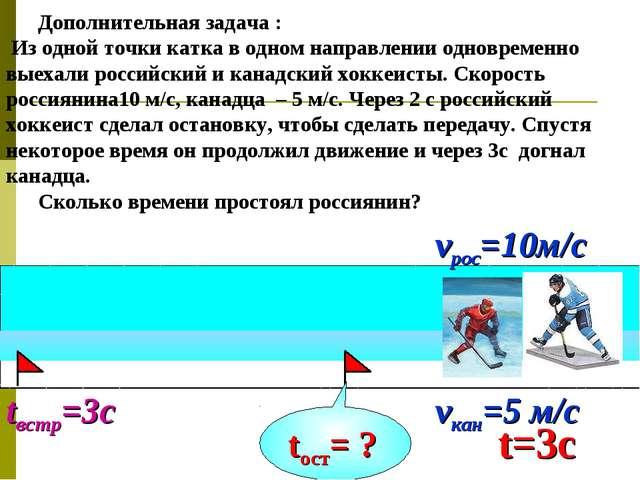 tвстр=3с Дополнительная задача : Из одной точки катка в одном направлении одн...