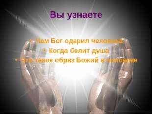 Вы узнаете Чем Бог одарил человека Когда болит душа Что такое образ Божий в ч