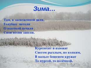 Зима… Куролесят и вьюжат Снегом рыхлым, но колким, В вальсе бешеном кружат То