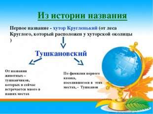 Из истории названия Первое название - хутор Кругленький (от леса Круглого, ко