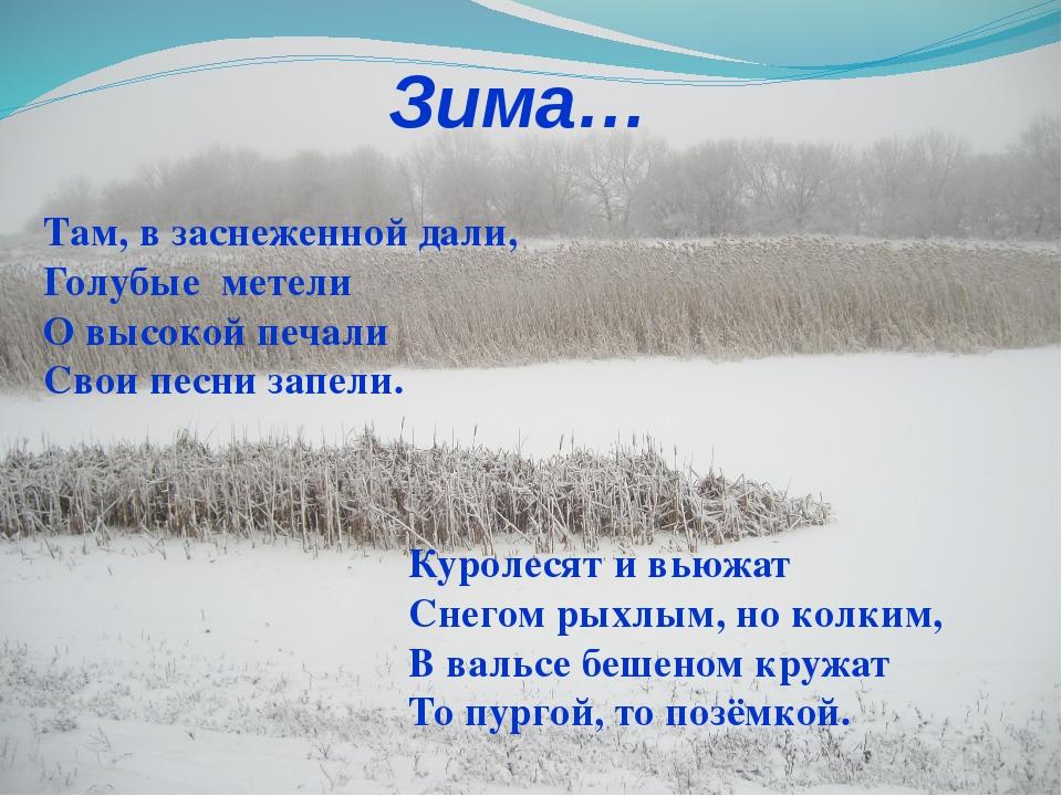 Зима… Куролесят и вьюжат Снегом рыхлым, но колким, В вальсе бешеном кружат То...