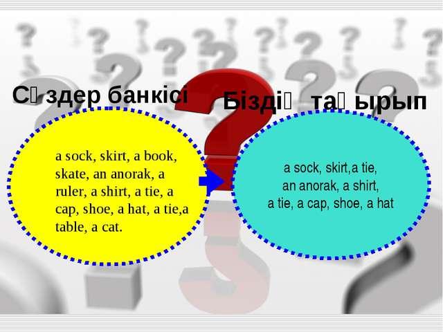 Сөздер банкісі Біздің тақырып a sock, skirt,a tie, an anorak, a shirt, a tie,...