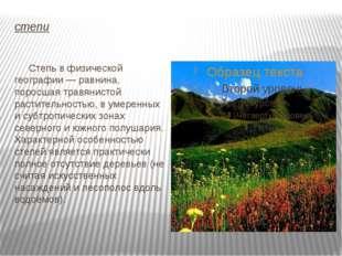 степи Степь в физической географии — равнина, поросшая травянистой растительн