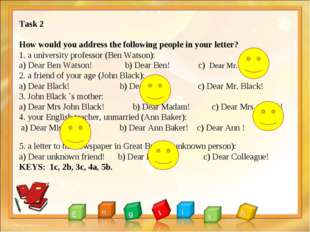 Task 2 How would you address the following people in your letter? 1. a univer