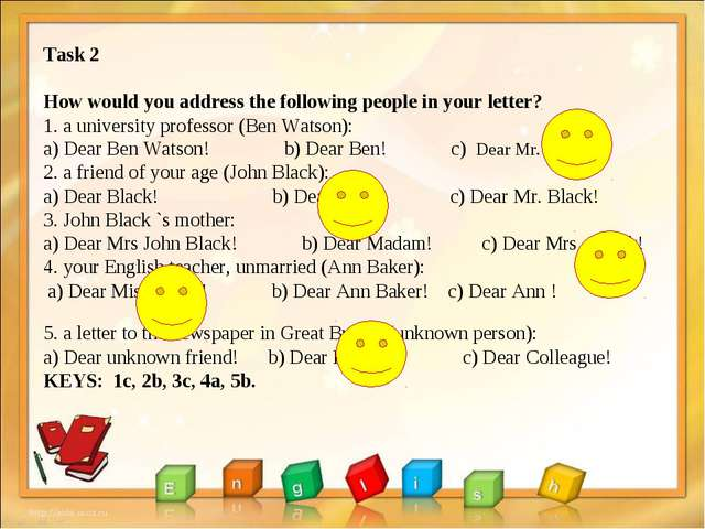 Task 2 How would you address the following people in your letter? 1. a univer...