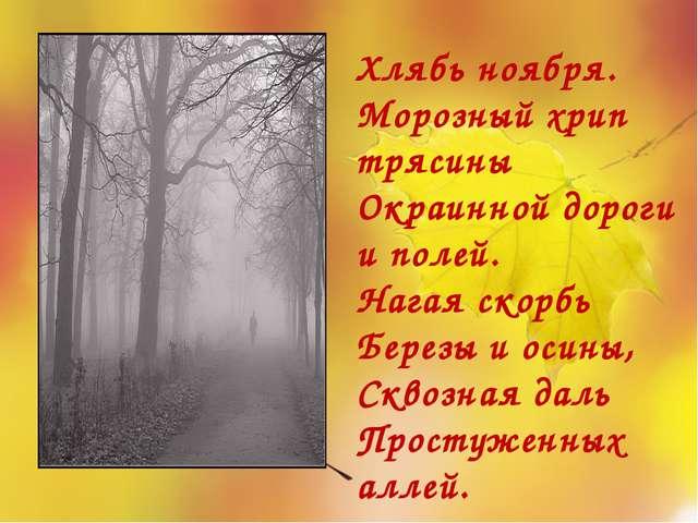 Хлябь ноября. Морозный хрип трясины Окраинной дороги и полей. Нагая скорбь Бе...