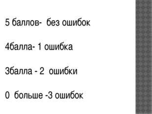 5 баллов- без ошибок 4балла- 1 ошибка 3балла - 2 ошибки 0 больше -3 ошибок