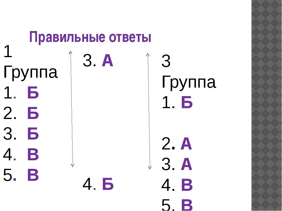 Правильные ответы 1 Группа 1. Б 2. Б 3. Б 4. В 5. В 2Группа 1. А 2. А 3. А 4...