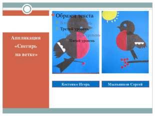 Реализация проектов Аппликация «Снегирь на ветке» Костенко Игорь Мыльников Се