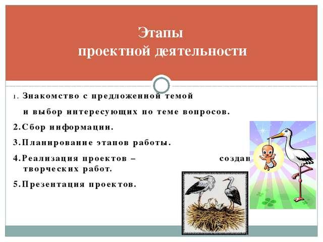 Этапы проектной деятельности 1. Знакомство с предложенной темой и выбор интер...