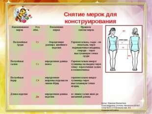 Снятие мерок для конструирования Автор: Юрченко Валентина Александровна, учит