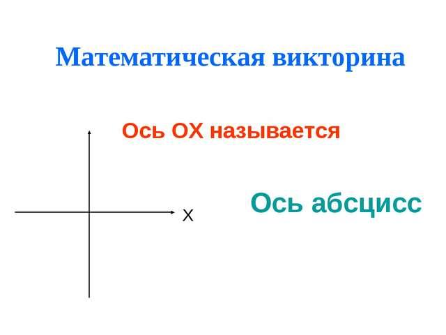 Математическая викторина Ось абсцисс Ось ОХ называется Х