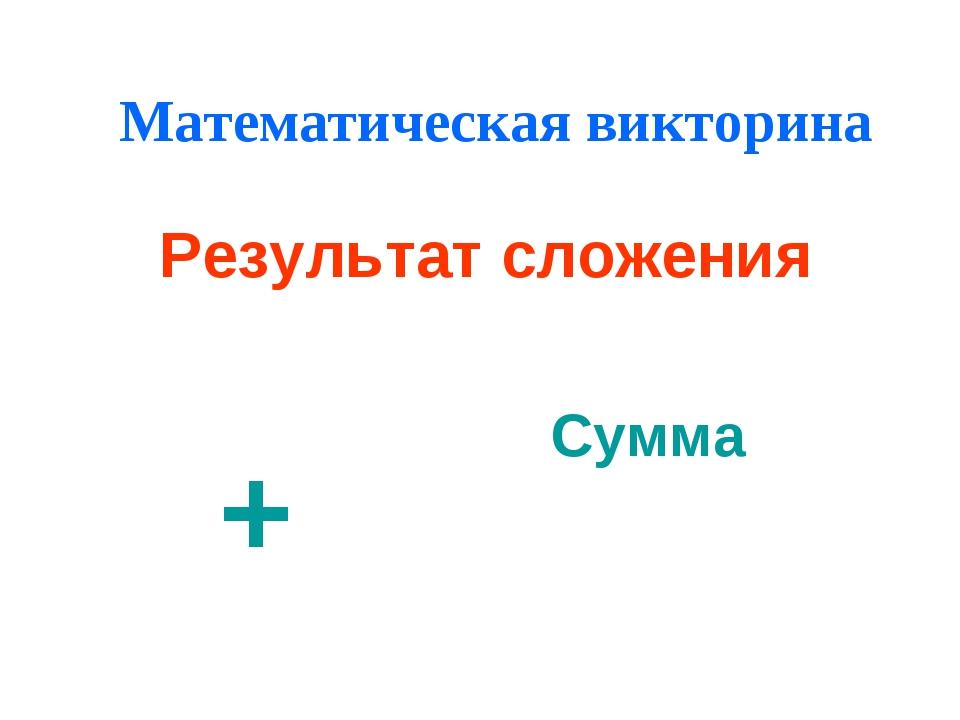 Математическая викторина Результат сложения Сумма +