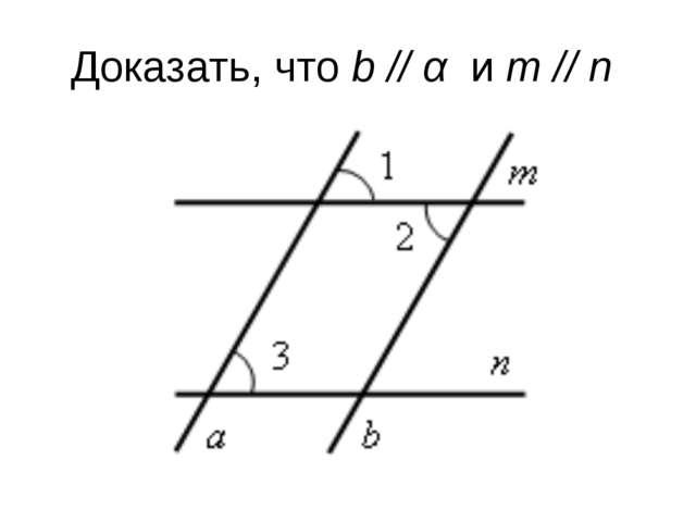 Доказать, что b // α и m // n