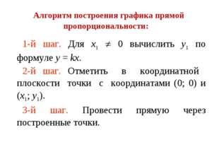 1-й шаг. Для х1 ¹ 0 вычислить у1 по формуле у = kх. 2-й шаг. Отметить в коорд