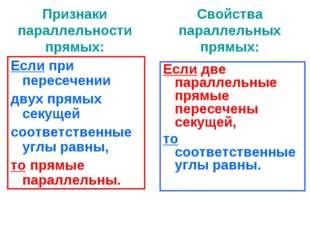 Признаки параллельности прямых: Если при пересечении двух прямых секущей соот