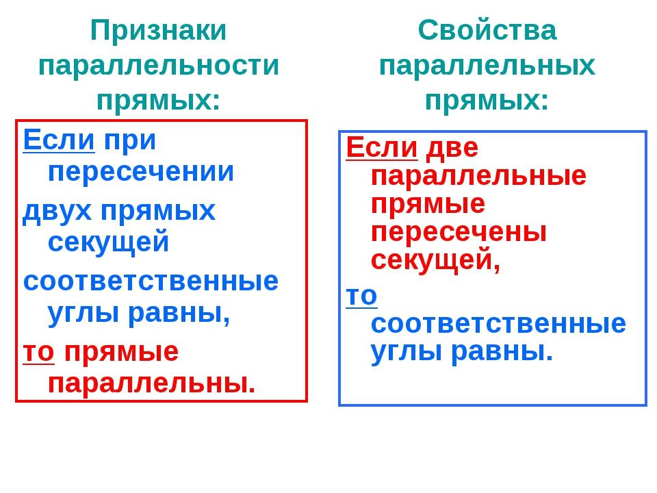 Признаки параллельности прямых: Если при пересечении двух прямых секущей соот...