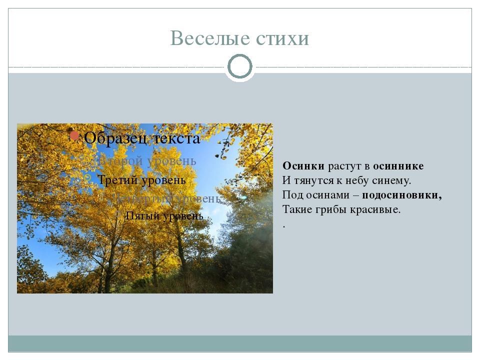 Веселые стихи Осинки растут в осиннике И тянутся к небу синему. Под осинами –...