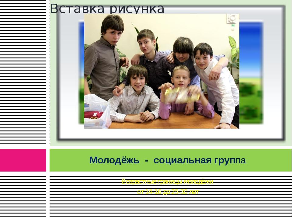 Возрастные границы молодёжи от 14-16 до 25-30 лет Молодёжь - социальная группа