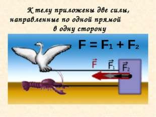 К телу приложены две силы, направленные по одной прямой в одну сторону F = F1