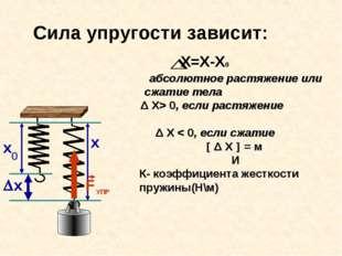 х Сила упругости зависит: абсолютное растяжение или сжатие тела Δ X> 0, если