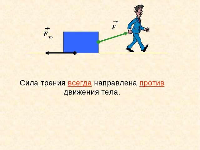 F F тр Сила трения всегда направлена против движения тела.