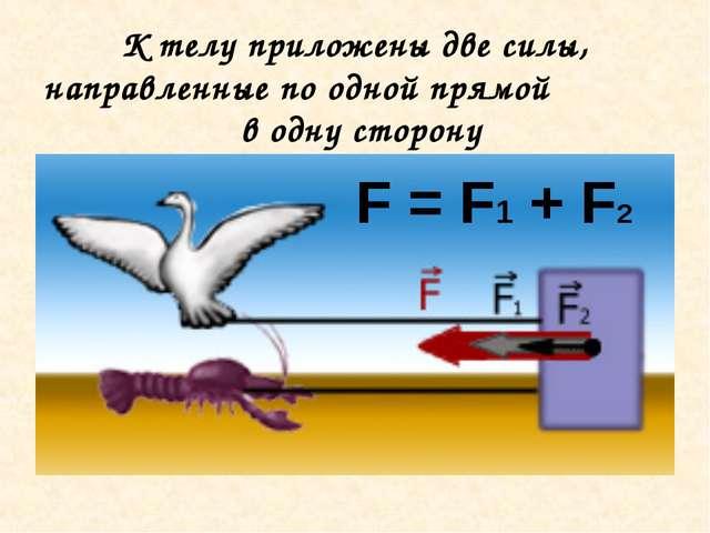 К телу приложены две силы, направленные по одной прямой в одну сторону F = F1...