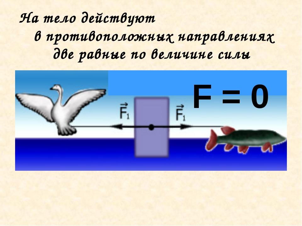 На тело действуют в противоположных направлениях две равные по величине силы...