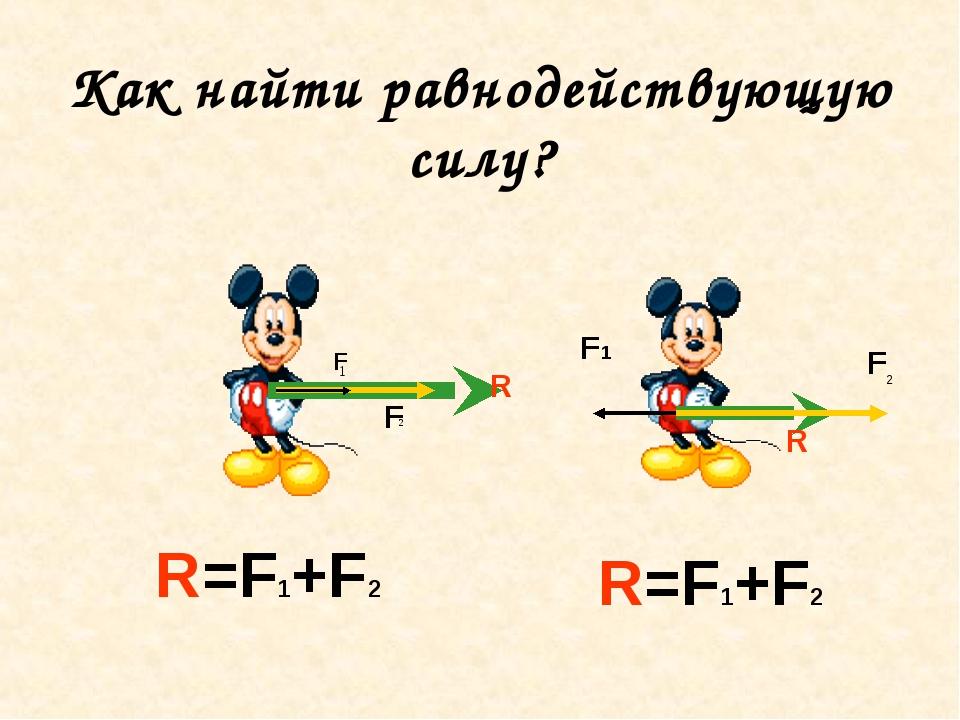 Как найти равнодействующую силу? F F R F 2 F1 R R=F1+F2 R=F1+F2