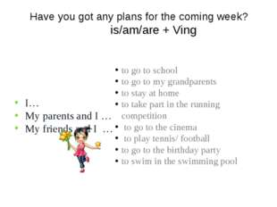 Have you got any plans for the coming week? is/am/are + Ving I… My parents an