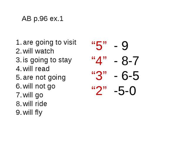AB p.96 ex.1 AB p.96 ex.1 are going to visit will watch is going to stay will...