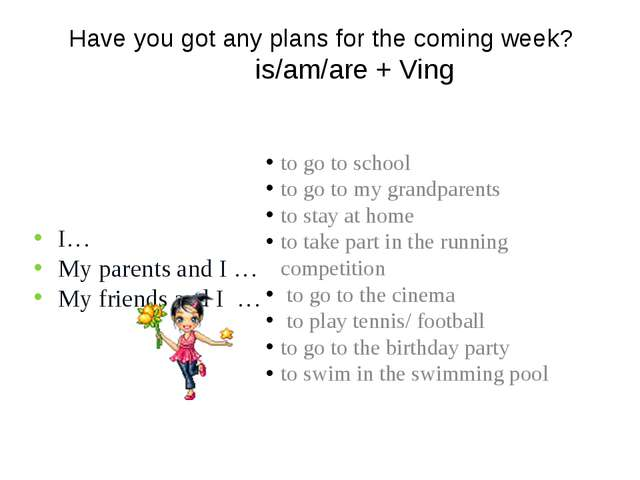 Have you got any plans for the coming week? is/am/are + Ving I… My parents an...