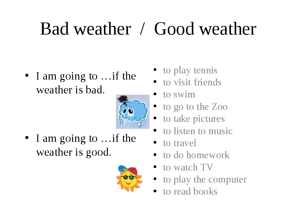 Bad weather / Good weather I am going to …if the weather is bad. I am going t...