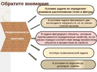 Обратите внимание Условие задачи не определяет взаимное расположения точек и