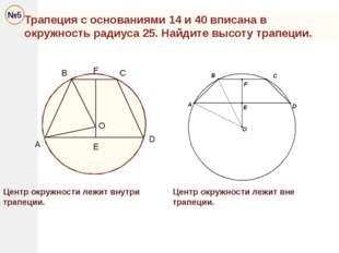 Трапеция с основаниями 14 и 40 вписана в окружность радиуса 25. Найдите высот
