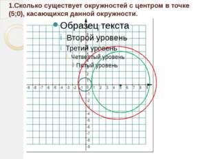 1.Сколько существует окружностей с центром в точке (5;0), касающихся данной о