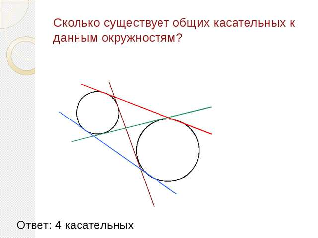 Сколько существует общих касательных к данным окружностям? Ответ: 4 касательных