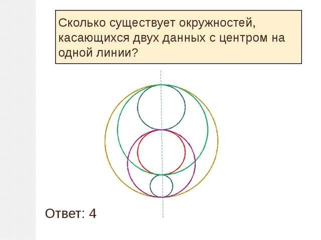 Сколько существует окружностей, касающихся двух данных с центром на одной ли...
