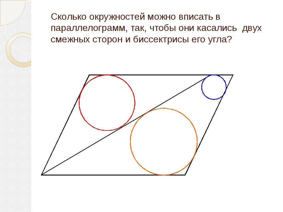 Сколько окружностей можно вписать в параллелограмм, так, чтобы они касались д...