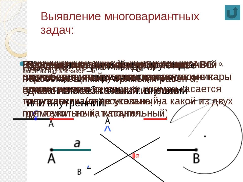Выявление многовариантных задач: точка или принадлежит отрезку АВ, или ему не...