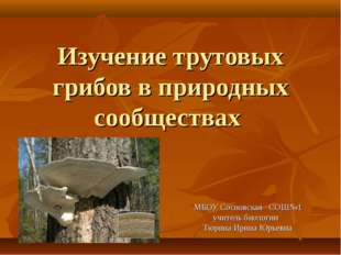 Изучение трутовых грибов в природных сообществах МБОУ Сосновская СОШ№1 учител