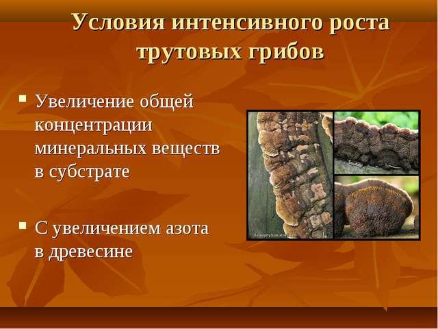 Условия интенсивного роста трутовых грибов Увеличение общей концентрации мине...