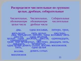 Распределите числительные по группам: целые, дробные, собирательные Два, пят