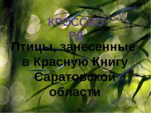 КРОССВОРД Птицы, занесенные в Красную Книгу Саратовской области