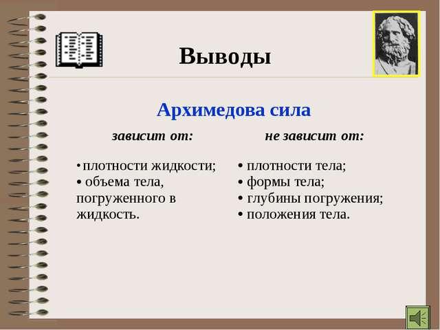Выводы Архимедова сила зависит от:не зависит от: плотности жидкости; объема...