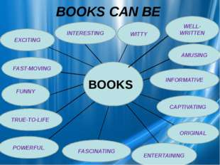 BOOKS CAN BE BOOKS INTERESTING AMUSING INFORMATIVE CAPTIVATING ORIGINAL ENTER
